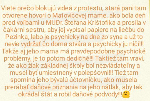 Zdroj faccebook: Ľuboš Tapetár Hanbím sa za Igora Matoviča