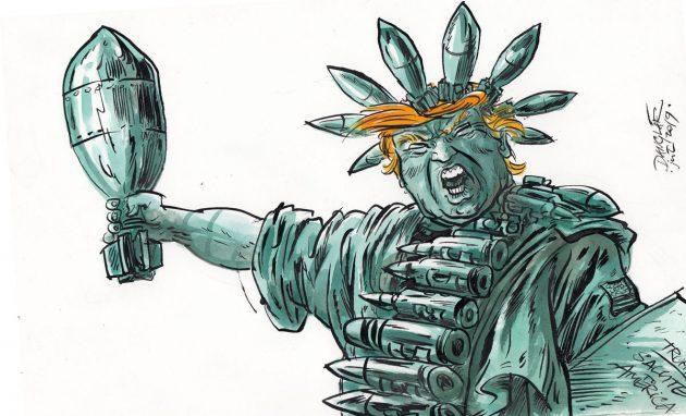 Možno tak nejako si Sochu slobody predstavuje americký prezident Donald Trump