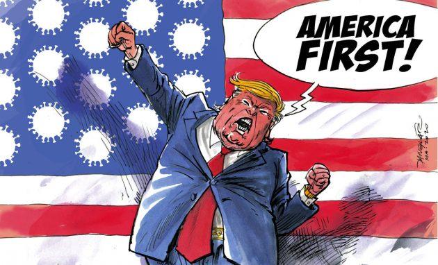 Danglár 28.03.2020 - túto karikatúru som tu vložil preto, aby si naši poslanci, ministri a premiér konečne uvedomili, že aj Amerika - ich veľký vzor - je už na kolenách, a ich prezident môže teraz povedať, že áno Amerika je prvá aj v počte nakazených ľudí koranavírusom COVID-19 no bohužiaľ aj počtom mŕtvych ľudí. :-(