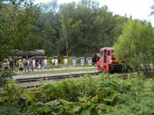 Odchádzajúca lokomotíva ide smerom k výhybke, aby sa premiestnila na spiatočnú koľaj.